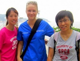 Dr. Polak with veterinary nurses from the Hong Kong SPCA